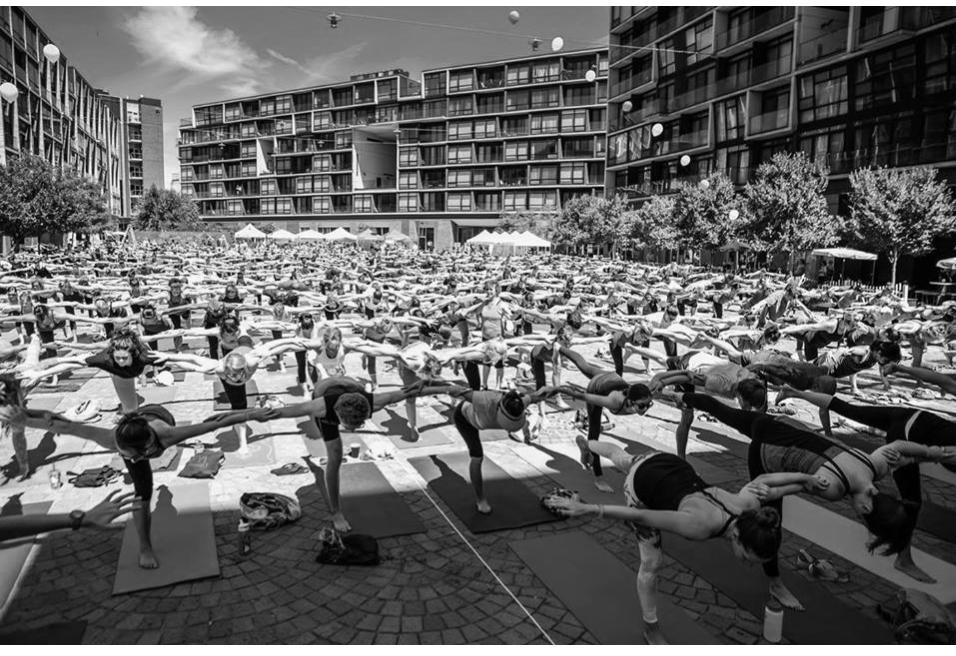 Large outdoor yoga class