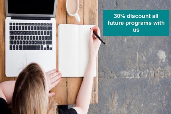 Get 30% off future yoga teacher training programs we offer
